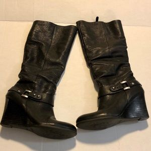 Guess black leather knee high wedge boots 7.5